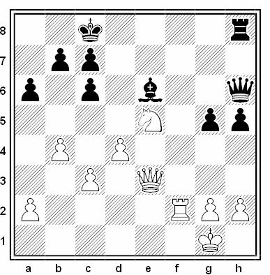 Posición de la partida de ajedrez Robert Hübner - Ralf Hess (Open de Lugano, 1989)