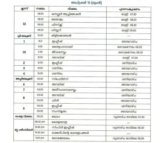 online class time table kerala