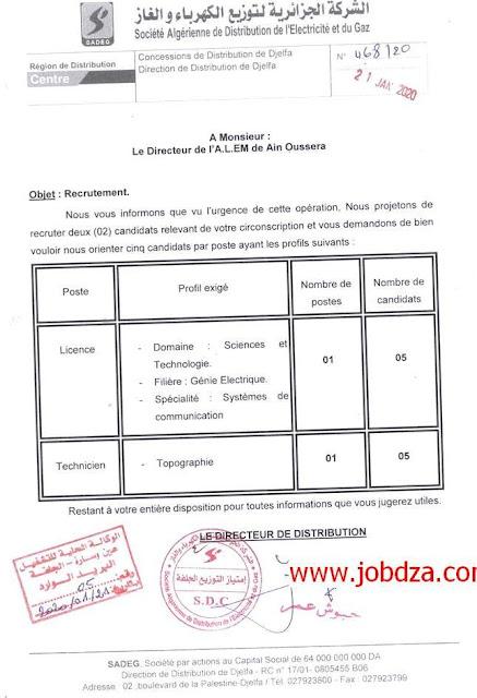 إعلان توظيف في مؤسسة سونلغاز بولاية الجلفة