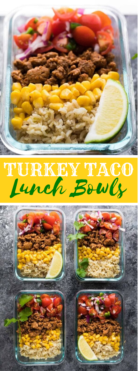 Turkey Taco Lunch Bowls (Meal Prep) #healthy #diet