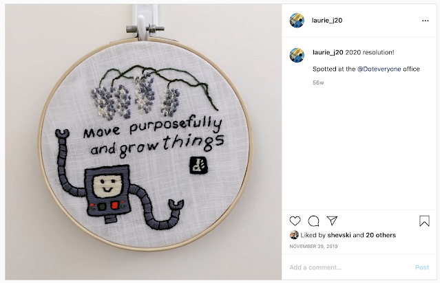 """instagram image of embroidery saying """"move purposely and grow things"""""""
