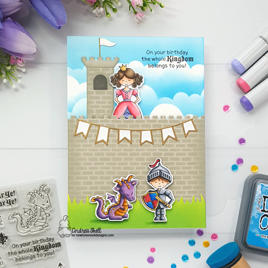 Knight and Princess Birthday Card by Andrea Shell | Once Upon a Princess Stamp Set, Knights Quest Stamp Set, Land Borders Die Set and Clouds Stencil from Newton's Nook Designs #newtonsnook #handmade