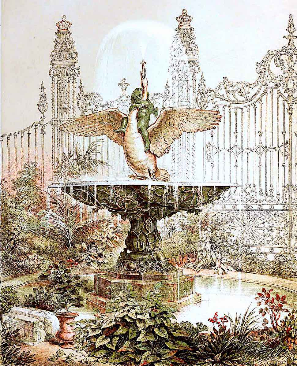 1851 Great Exhibition in London, a fantastic fountain with cherub and swan