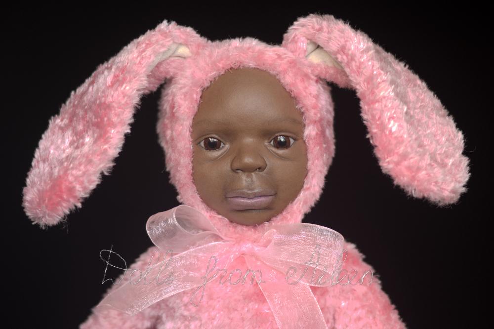 ooak Easter Bunny teddy doll's face