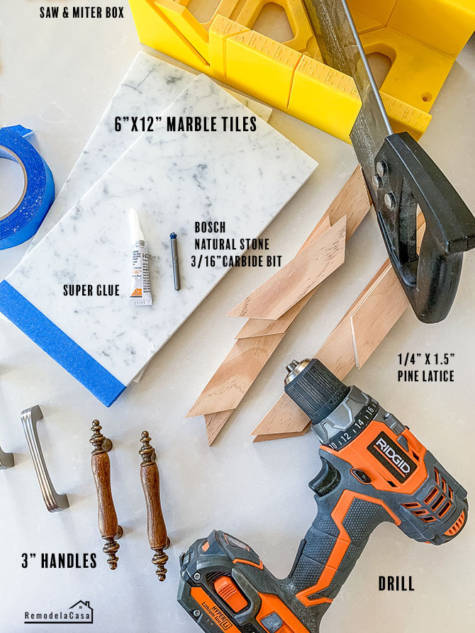 materials youll need to create two marble tiles