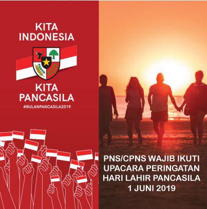 PNS/CPNS Wajib Ikuti Upacara Bendera Hari Lahir Pancasila 1 Juni 2019