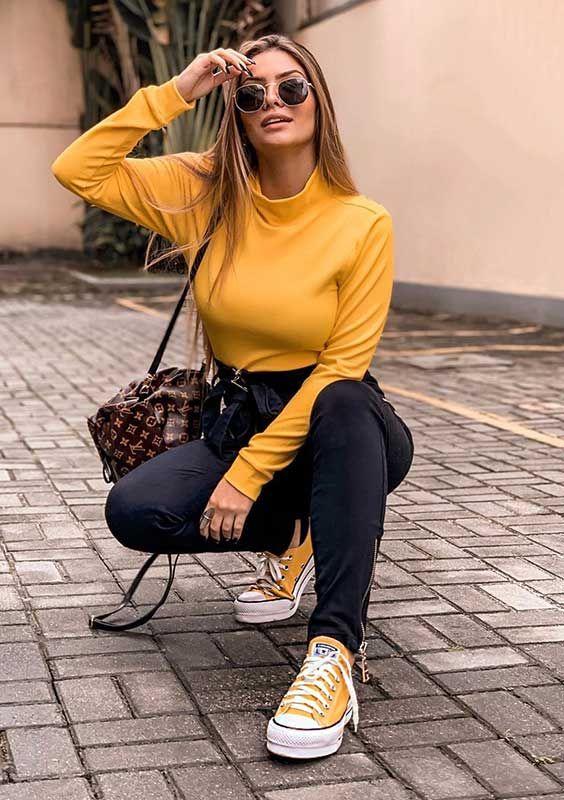 Looks com All Star amarelo
