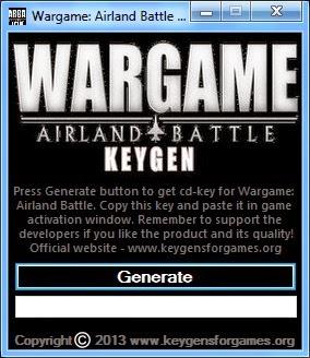 Hacks Wargame Airland Battle Game cd code Generator Download
