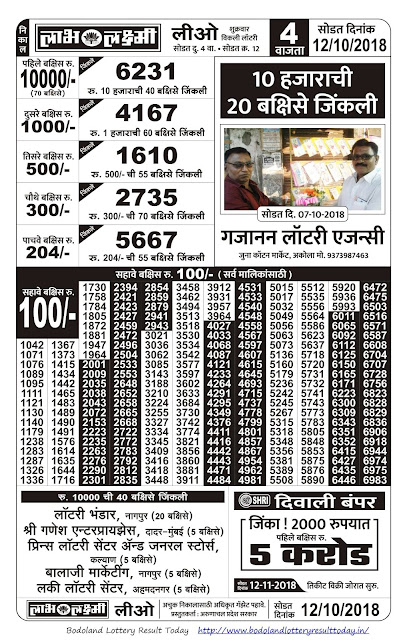 Labh Laxmi Lottery Result Today - 12/10/2018