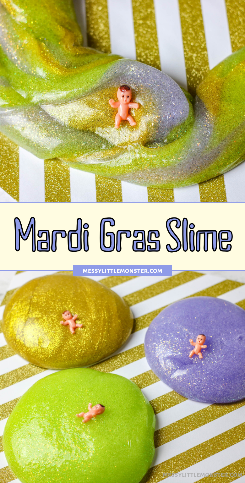 Easy Mardi Gras slime recipe for kids using contact solution. Mardi Gras sensory play activity for kids.