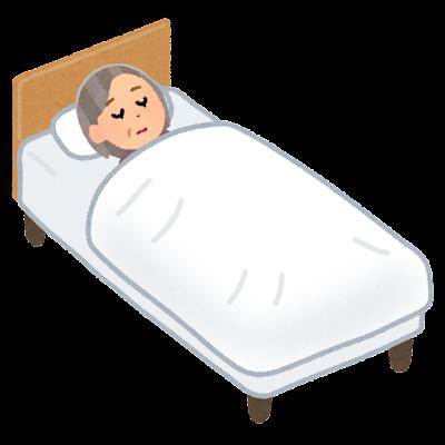 ベッドで寝る人のイラスト(高齢女性)