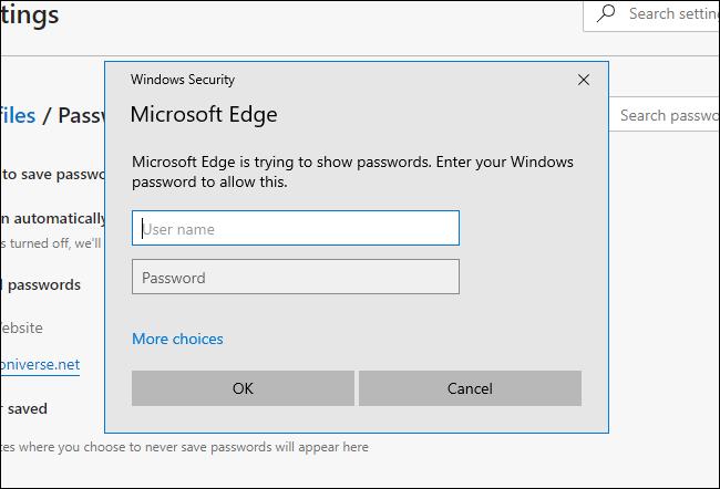 يطلب Microsoft Edge كلمة مرور النظام على Windows