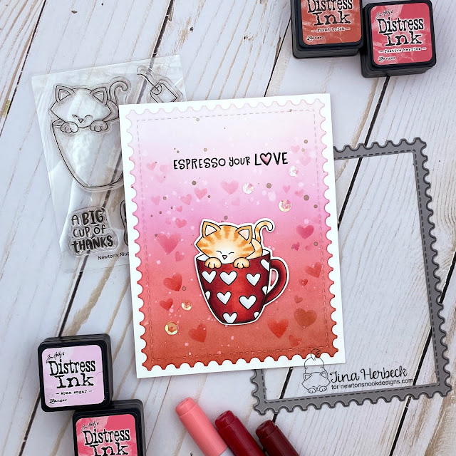 Espresso Your Love Card by Tina Herbeck | Newton's Mug and Love Café Stamp Sets, Tumbling Hearts Stencil & Framework Die Set by Newton's Nook Designs