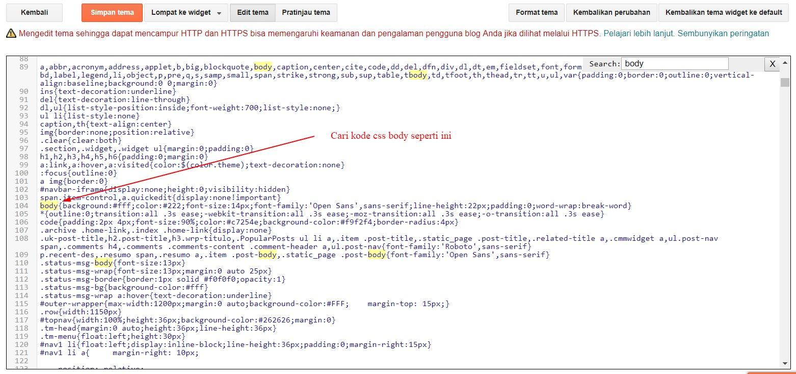 Kode CSS Body