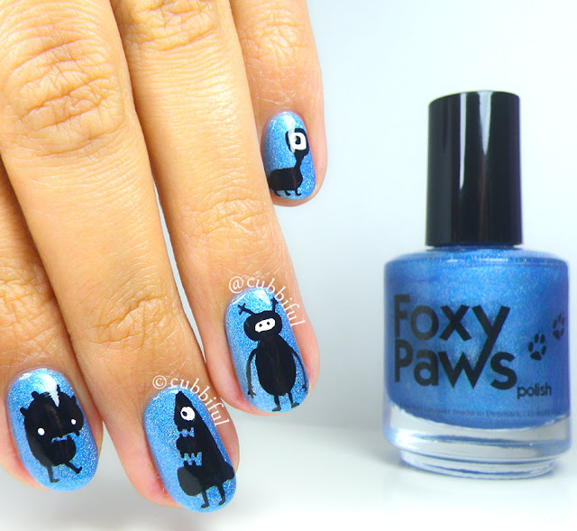 Cute Halloween Monsters Nail Art