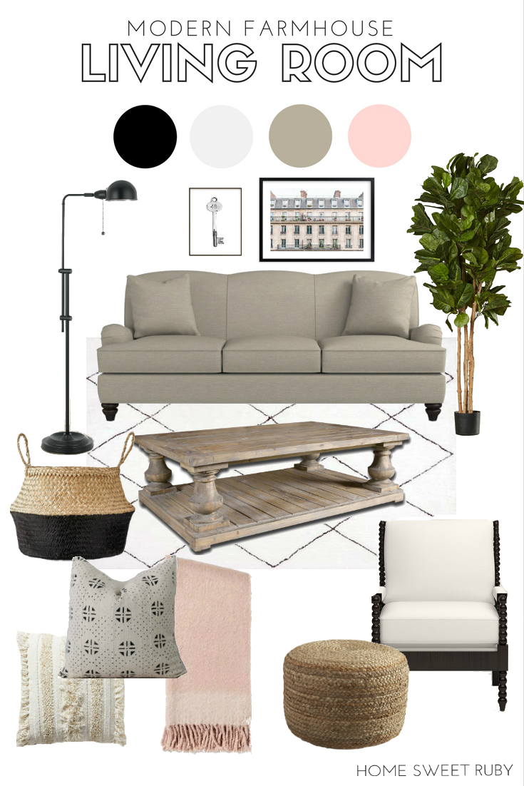 Modern Farmhouse Living Room Inspiration - Home Sweet Ruby