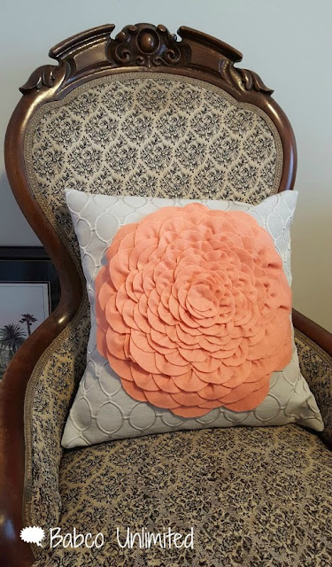 BabcoUnlimited.blogspot.com - Flower Petal Pillow in Peach