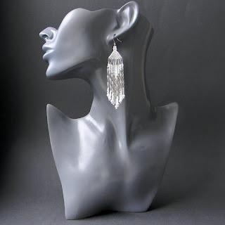 купить белые серьги из бисера длинные с бахромой этно стиль украшения