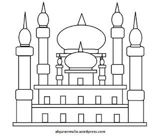 Gambar Sketsa Mewarnai Masjid Terbaru 201723