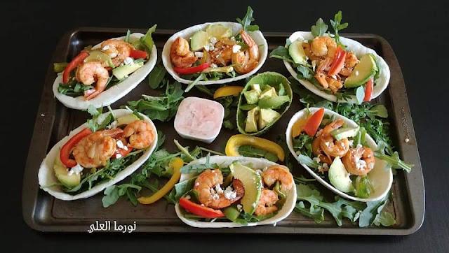 Taco boats with shrimp