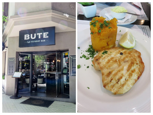 4-days in Mendoza Argentina: Lunch at Bute (restaurant facade and meal)