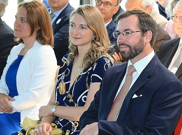 Ralph Lauren Plus Short-Sleeve Anchor-Print Dress. Hereditary Grand Duke Guillaume and Hereditary Grand Duchess Stephanie