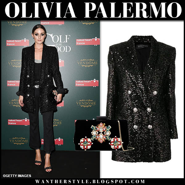 Olivia Palermo in black sequin balmain blazer and black pants event outfit september 27