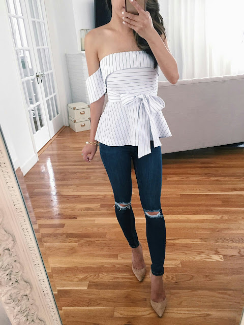 Striped Peplum Top with skin jeans