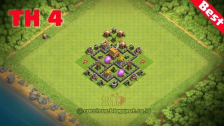 Formasi clash of clans town hall 4 base trophy