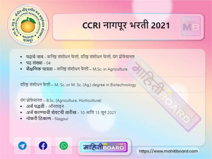 CCRI Nagpur Bharti 2021
