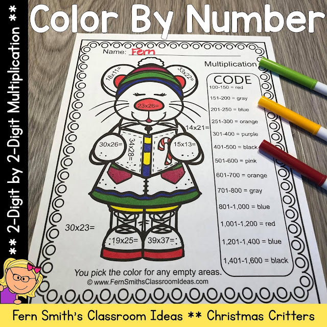 Click here to buy Color By Numbers Christmas Critters Two Digit By Two Digit Multiplication