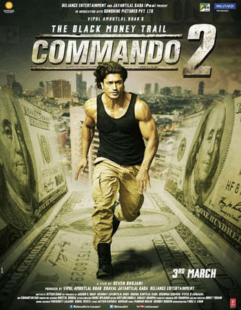Poster Of Commando 2 2017 Hindi 350MB Pre-DVDRip 480p Watch Online Free Download downloadhub.in