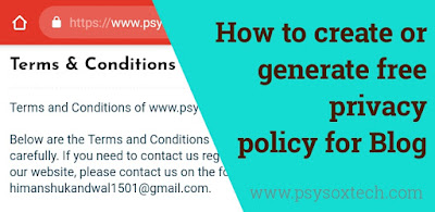 Terms and conditions page for website and blog