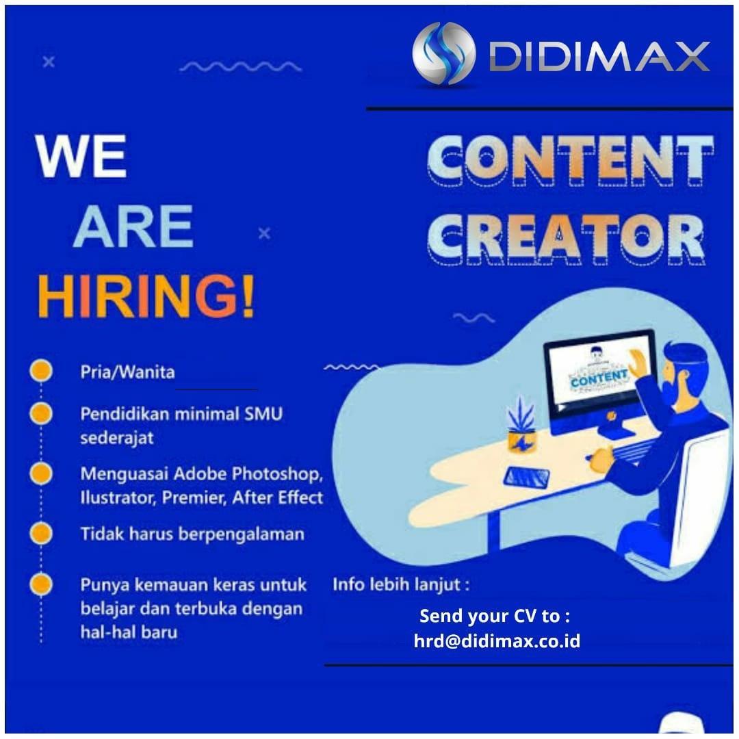 Lowongan Kerja Content Creator Didimax Bandung Maret 2020