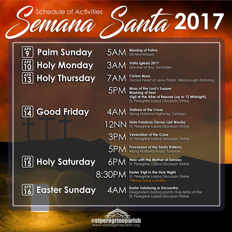 Names for the Holy Week 2017, church calendar names 30