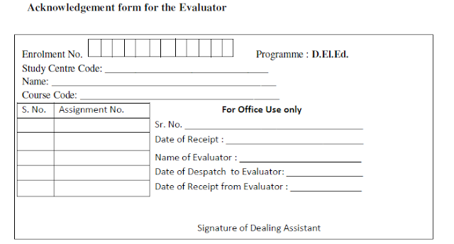 acknowledgement form for evaluator nios deled