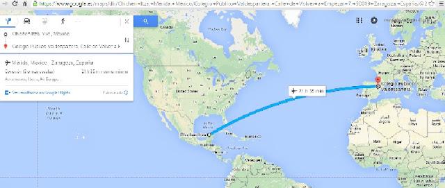 https://www.google.es/maps/dir/Chich%C3%A9n+Itz%C3%A1,+Yucat%C3%A1n,+M%C3%A9xico/Colegio+P%C3%BAblico+Valdespartera,+Calle+de+Volver+a+Empezar+7,+50019+Zaragoza,+Espa%C3%B1a/@25.0209131,-84.4591542,3z/data=!3m1!4b1!4m13!4m12!1m5!1m1!1s0x8f5138c6e391c0e7:0x7c1ea0a168994d9a!2m2!1d-88.567783!2d20.684285!1m5!1m1!1s0xd596ac5cf3bdff3:0xb023b18a29cb10c3!2m2!1d-0.917331!2d41.624419
