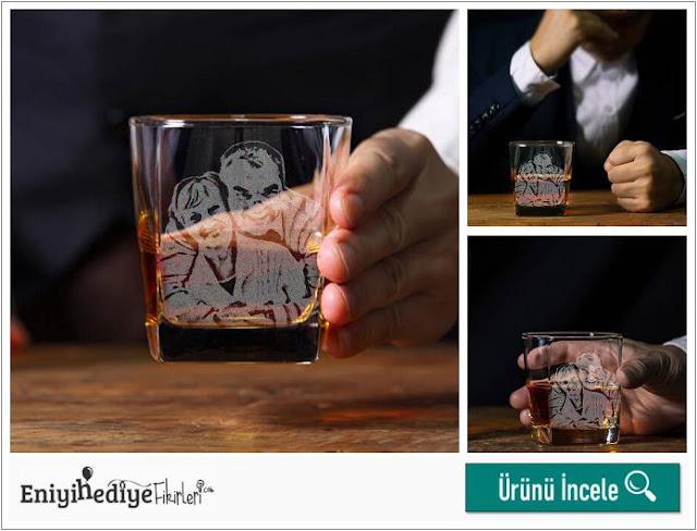 Babaya Hediye Fotoğraflı Viski Bardağı