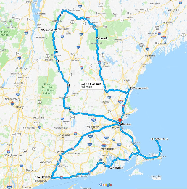 Mappa dell'itinerario on the road nel New England