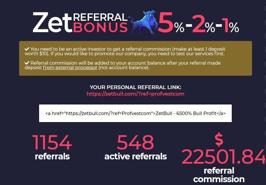Реферальная статистика ZetBull