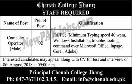 Computer Operator Jobs in Chenab College Jhang