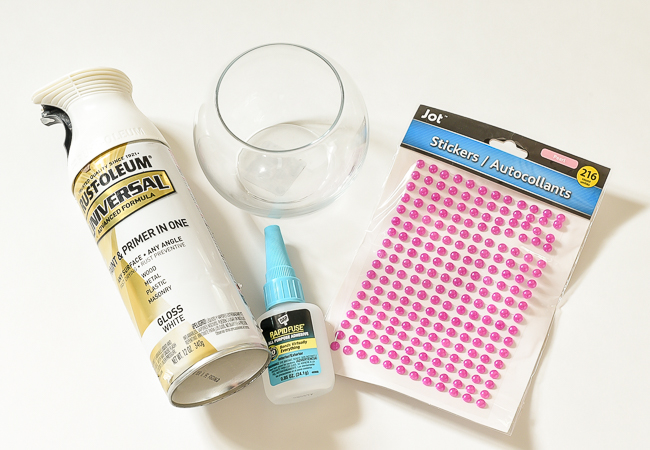 Supplies to make DIY Dollar Tree hobnail milk glass