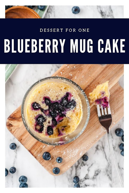 How to make a blueberry mug cake recipe.  This easy dessert for one person can be made in the microwave. Make a yummy quick individual dessert in a mug. This single serve recipe makes a mini cake for one person.  Make the best simple blueberry cake recipe in just a few minutes. #blueberry #mugcake #dessert