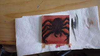 black spider painting