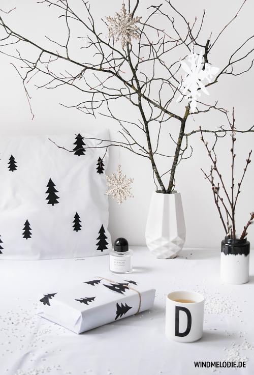 DIY Geschenkverpackung Ideen skandinavisch Tannenbaum Muster