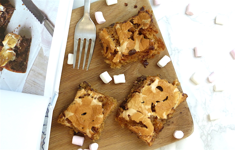 an image of peanut butter and marshmallow blondie recipe