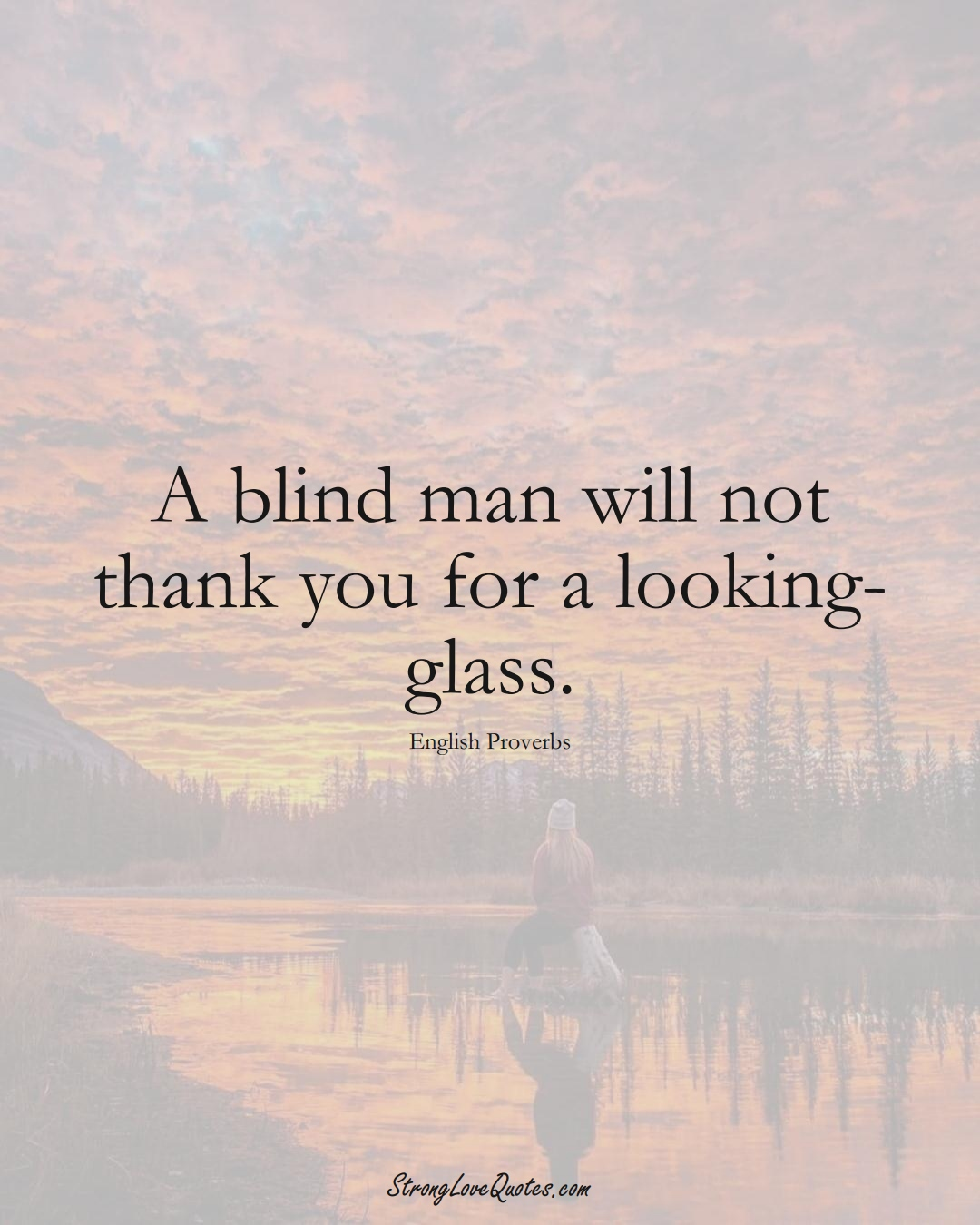 A blind man will not thank you for a looking-glass. (English Sayings);  #EuropeanSayings