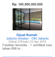contoh iklan jual rumah seharga 100 milyar rupiah di Jakarta Selatan