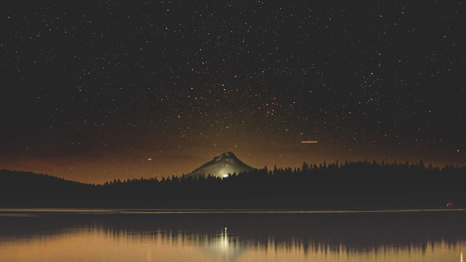 Starry, Night, Sky, Mountain, Lake, Scenery, 8K, #4.2338