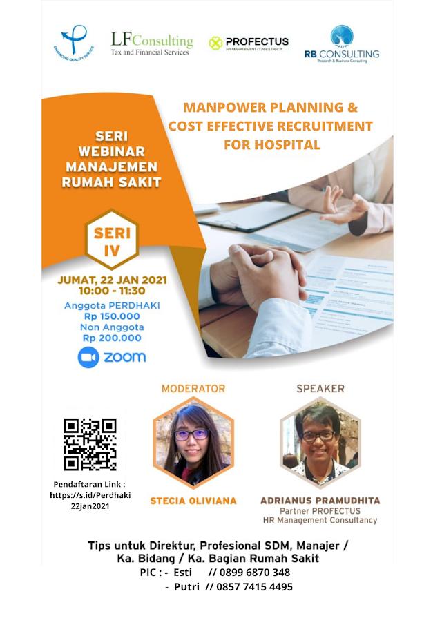 Webinar  Manpower Planning & Cost Effective Recruitment for Hospital - 22 Jan 2021